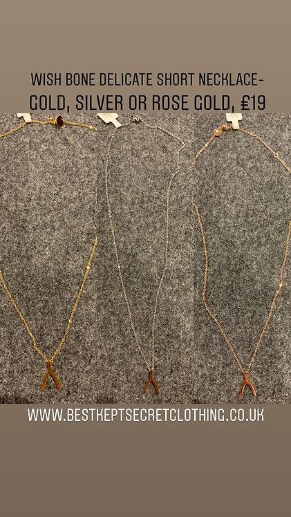 Wish bone short delicate necklace
