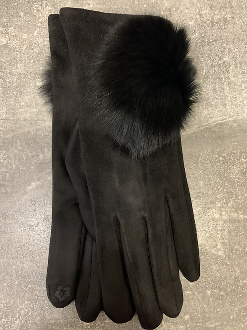 Suedette Gloves with pom pom