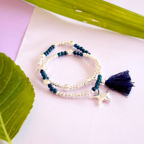 Navy Tassel, Heart, Star Bracelet