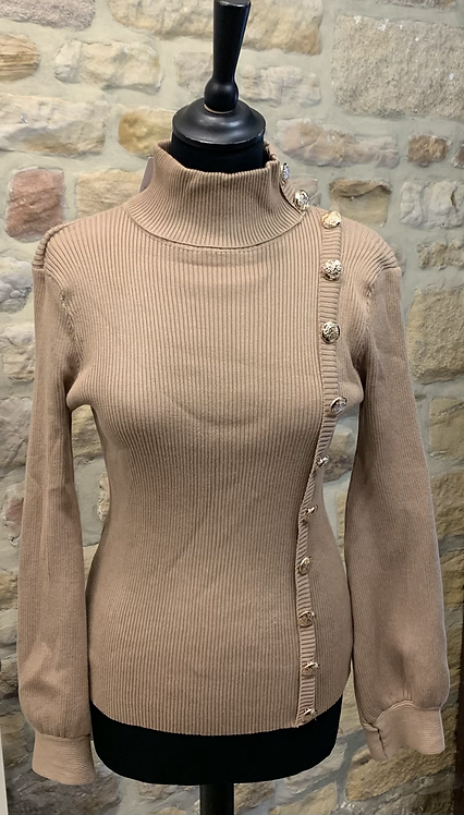 Camel Ribbed Polo neck Sweater with Gold Button detail