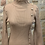 Thumbnail: Camel Ribbed Polo neck Sweater with Gold Button detail