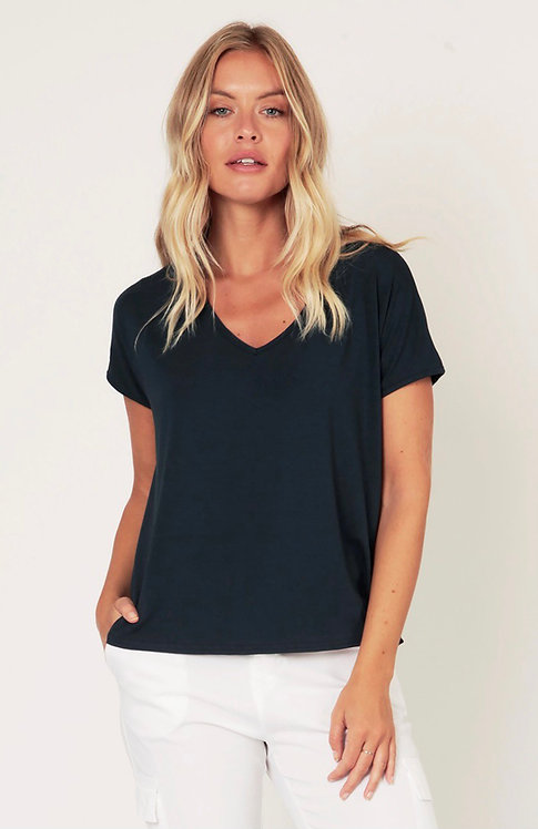 Plain V Neck Jersey T-shirt Top