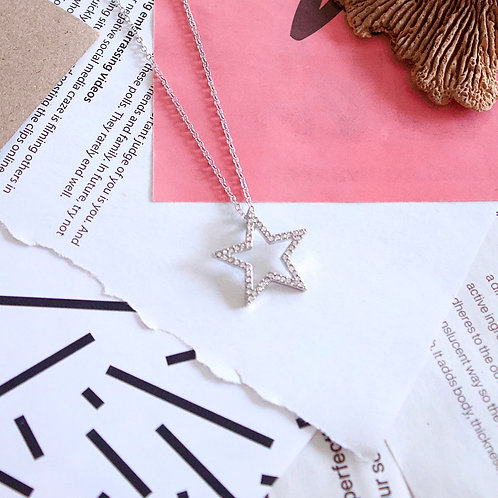 Short Necklace with Diamanté Star Charm