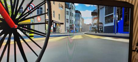 VR Fahrrad im Stadtverkehr