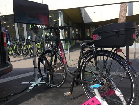 VR Fahrrad vor der Präsentation