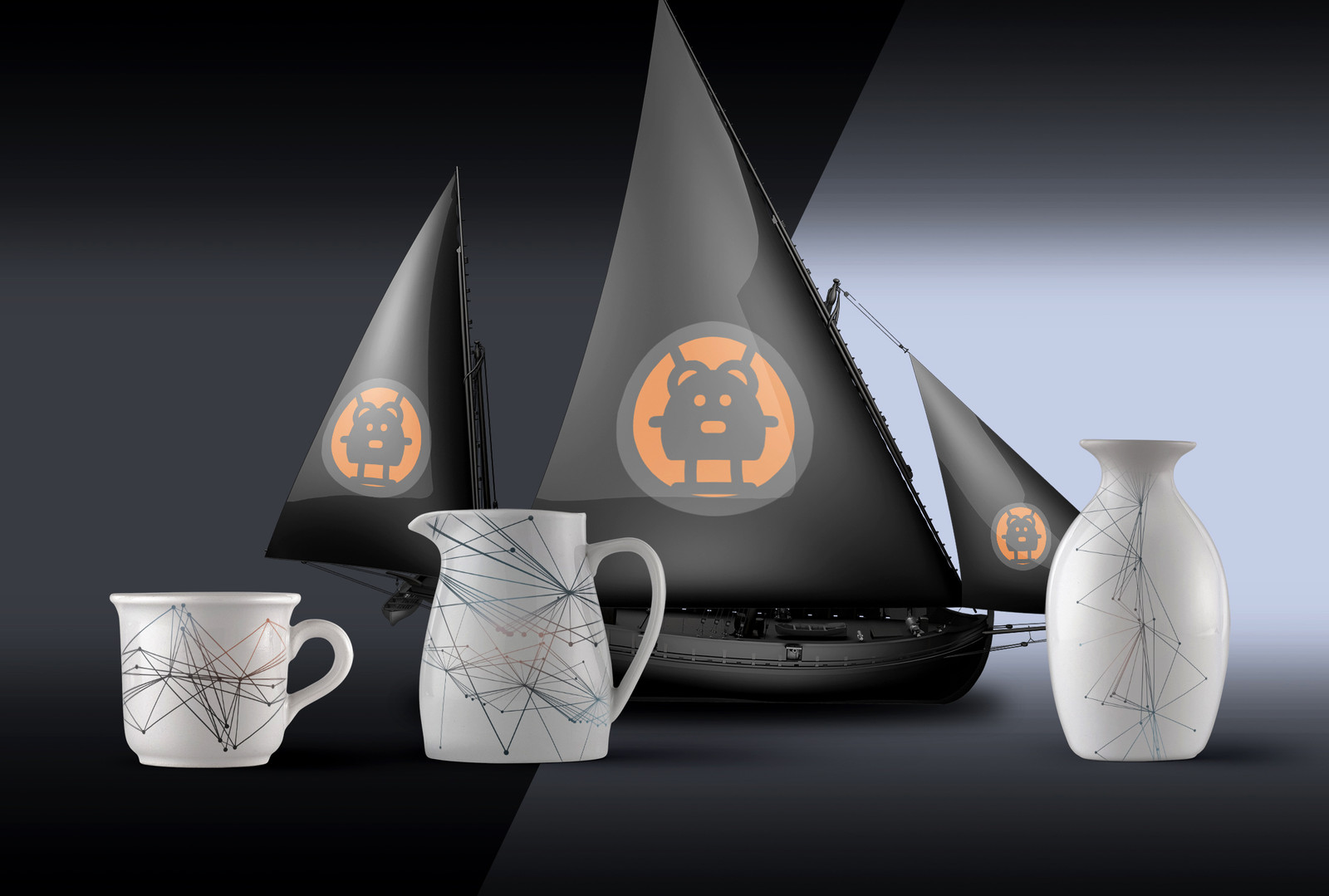 COFFEE SET WITH MODEL SAILBOAT