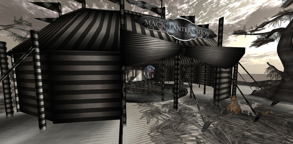 An extension of the amusement park is a magic lantern theater placed on a floating island slightly above ground level.