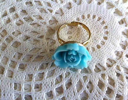 Light Blue Rose Ring