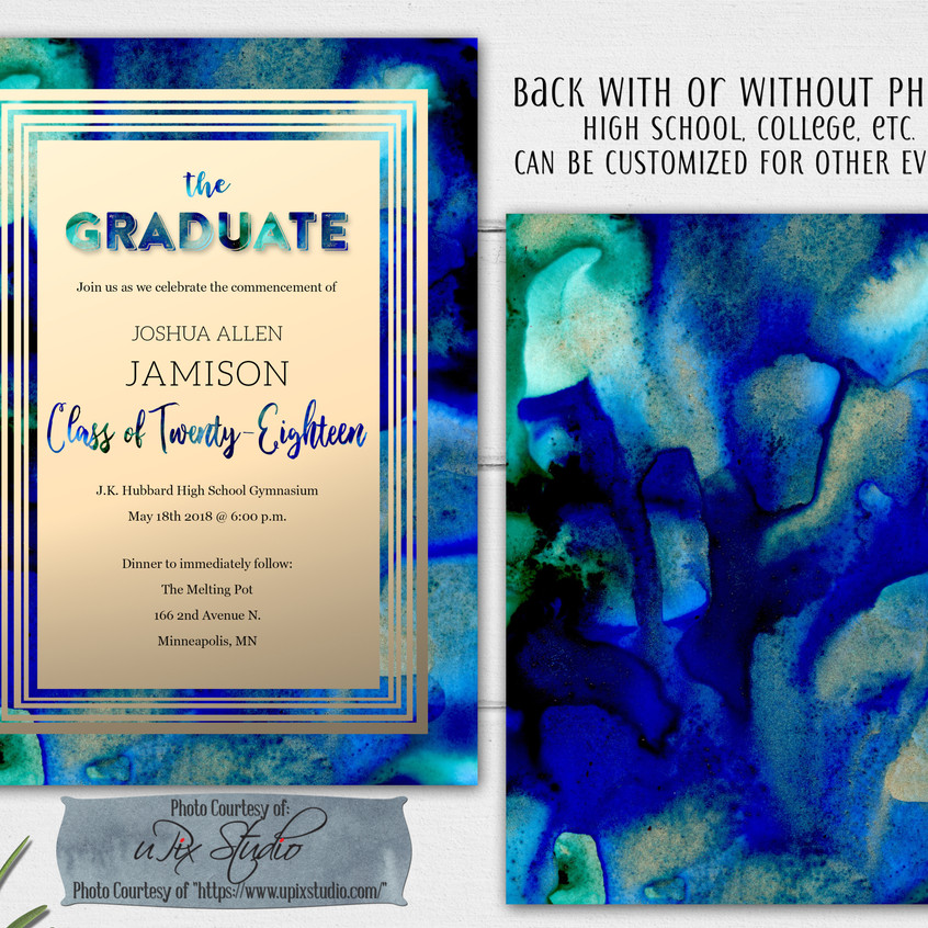Blue and Black with Gold Foil