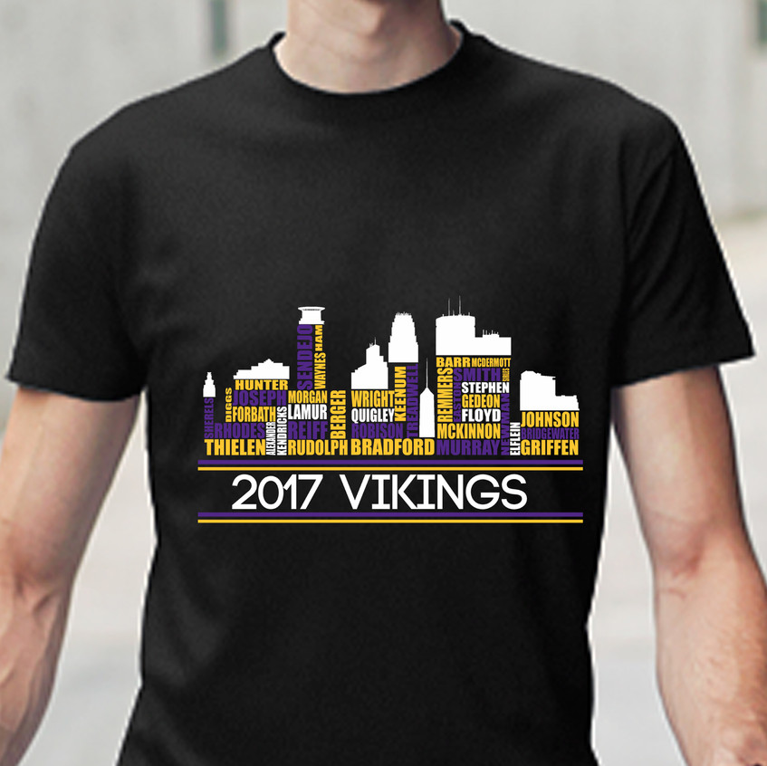 Viking Tshirt players black mockup on man
