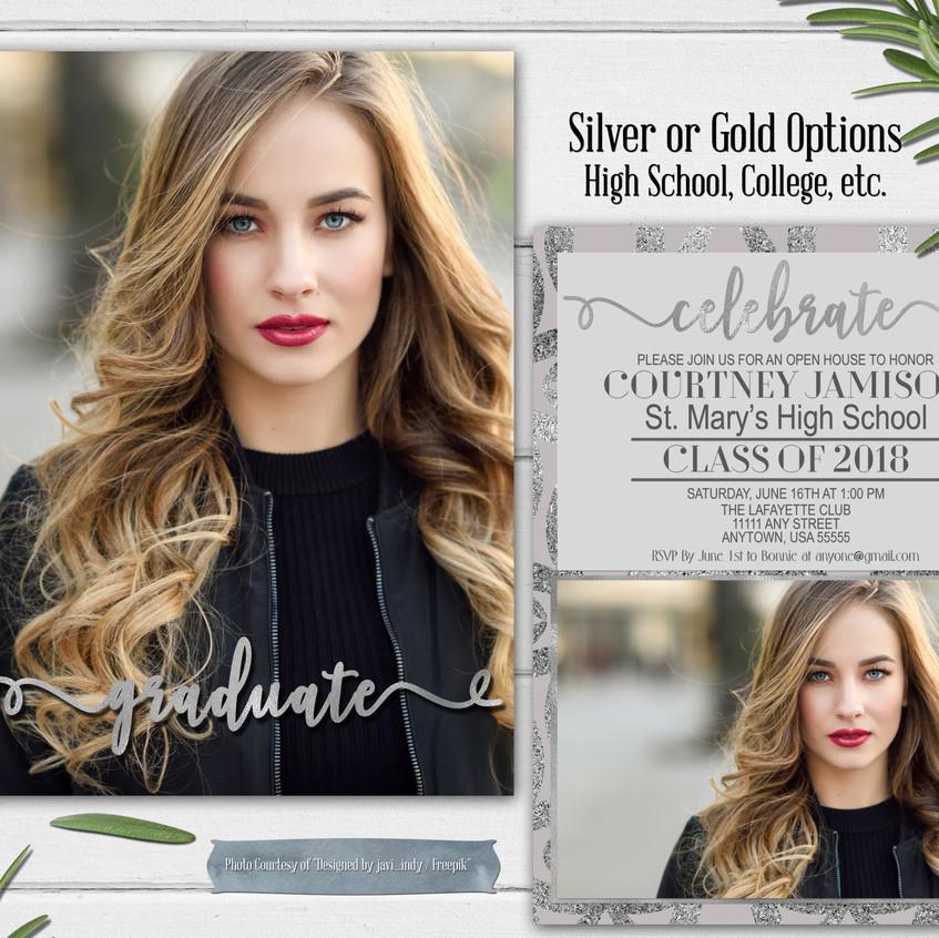Silver Foil Grad Invite