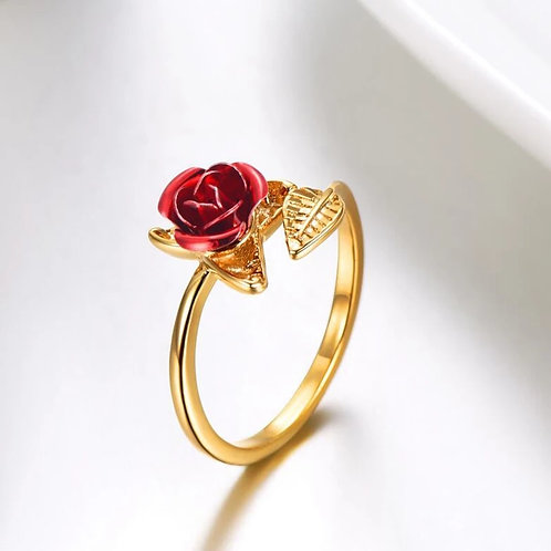 Red Rose Flower Resizeable Ring