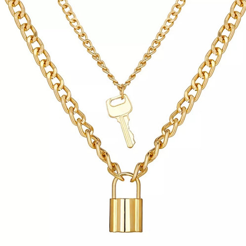 Multilayer Necklace with Key
