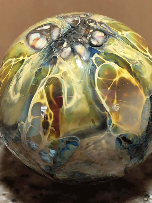 Lightning blown glass hollow sphere