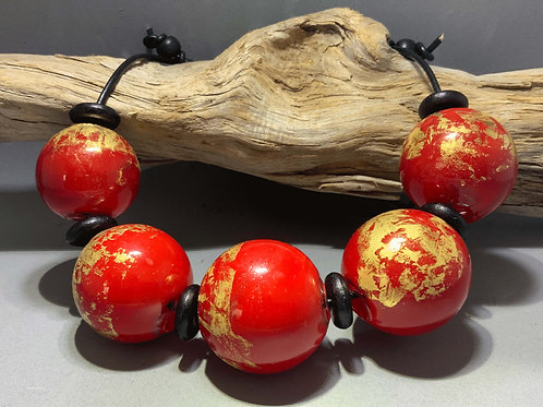 Good Fortune blown glass hollow bead necklace