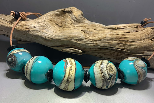 Navajo Dreamtime blown glass hollow bead necklace