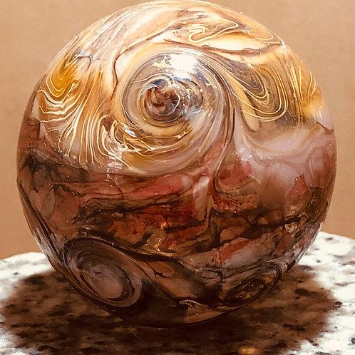 Cloud Pink blown glass hollow sphere