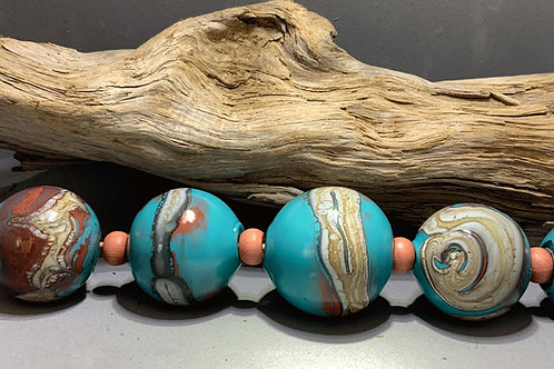 Santa Fe blown glass hollow bead necklace