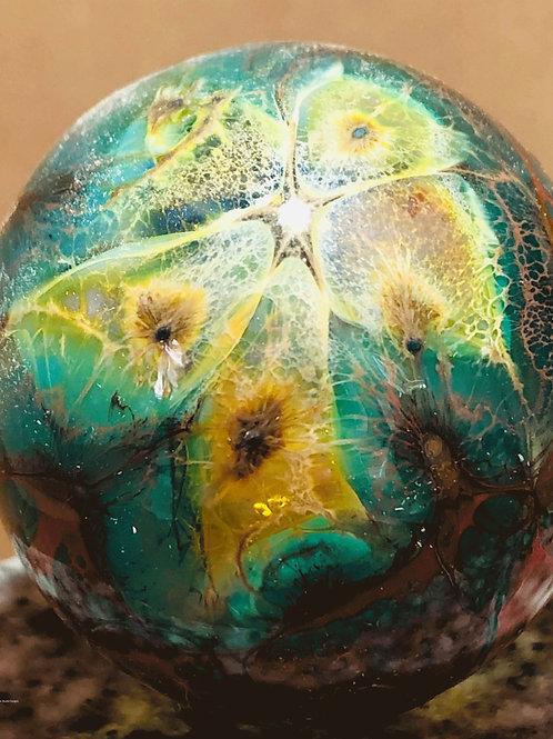 Butterfly blown glass hollow sphere