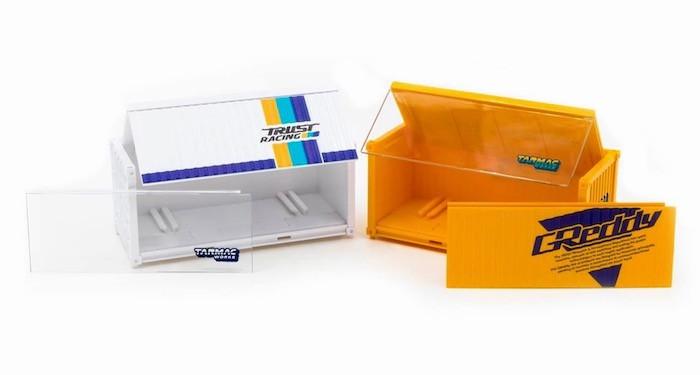 Tarmac Worksのコンテナ型ミニカーケースのセット写真