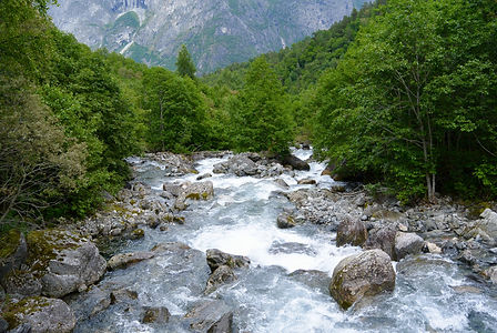 beautiful mountain whitewater river in t