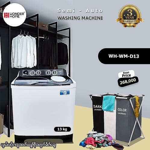 Wonder Home Semi-Auto 13kg Midnight Black Washing Machine(Model: WH-WM-D13)