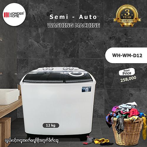 Wonder Home Semi-Auto 12Kg Washing Machine (Model: WH-WM-D12)