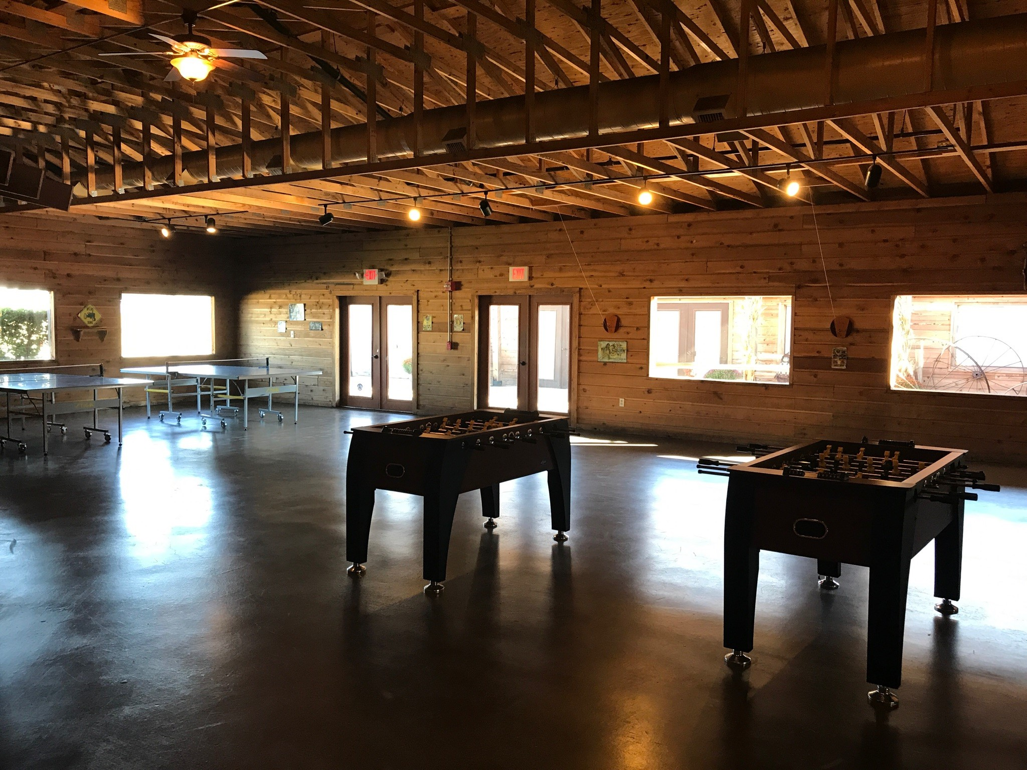 circle r ranch game room with foosball t