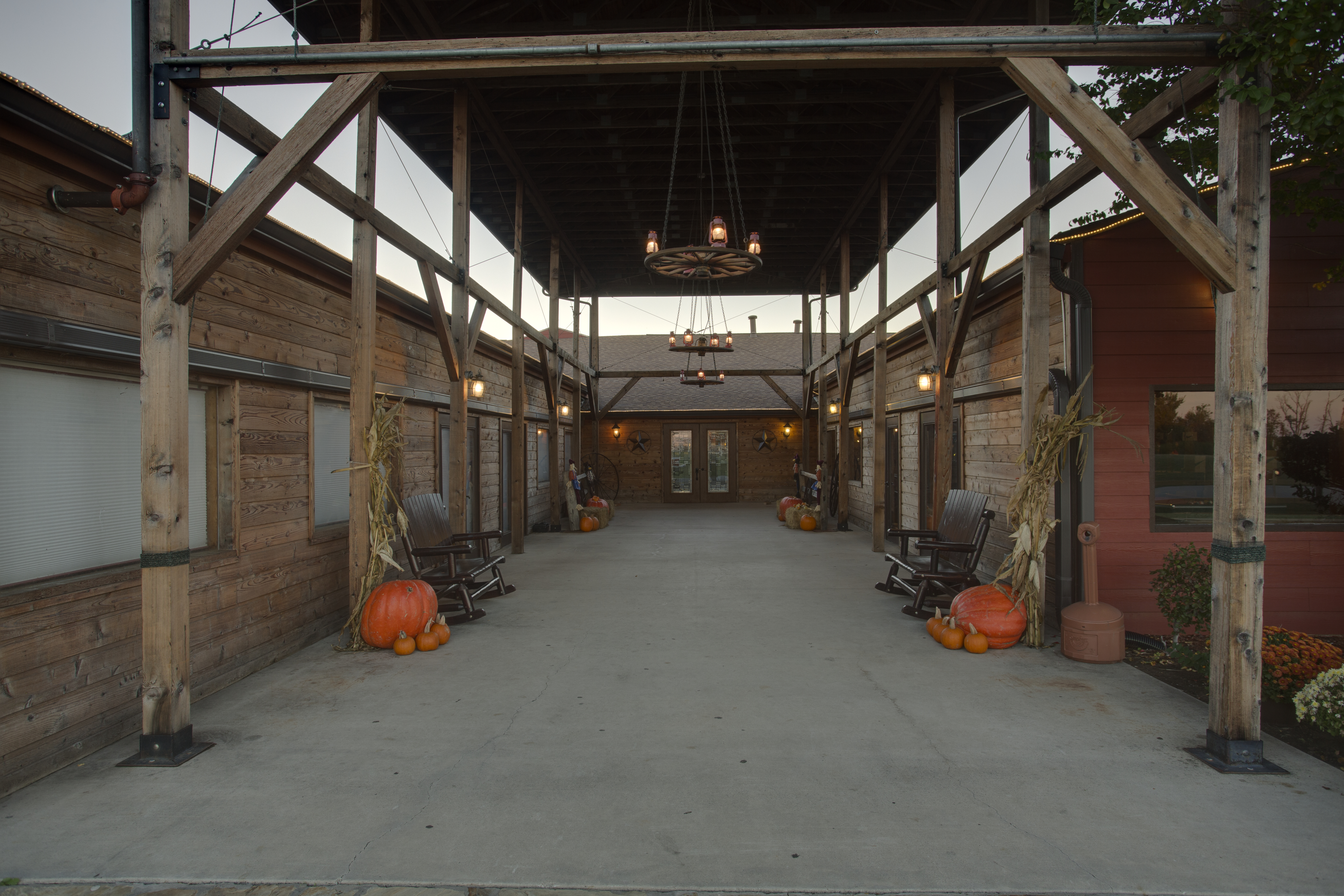 circle r ranch east entry with pumpkins