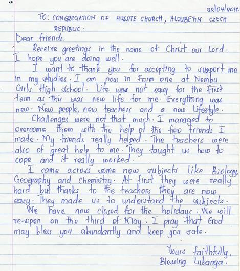 Dopis od Blessing z dubna 2018