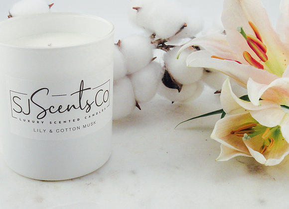 Lily & Cotton Musk Scented Candle