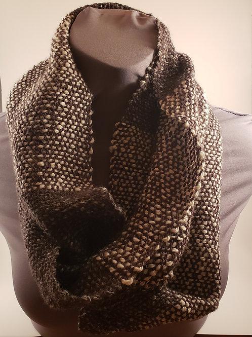 Loom Knit 100% Alpaca -Gray & White Infinity Scarf