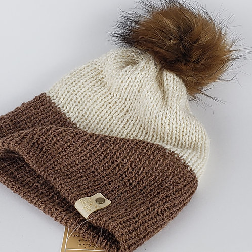 Alpaca Knit Hat with Faux Fur Pom