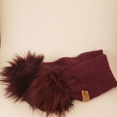 Hand Dyed 100% Alpaca Knit Scarf with Faux Fur Poms
