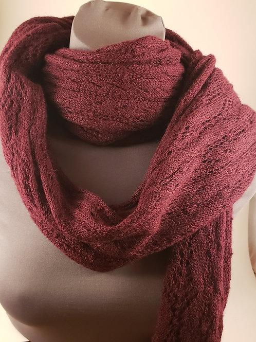 Machine Knit 100% Alpaca Lace Scarf - Raspberry