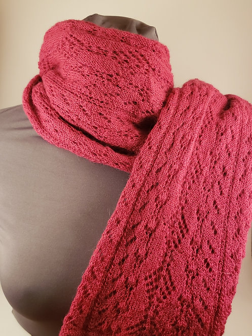 Machine Knit 100% Alpaca Lace Scarf