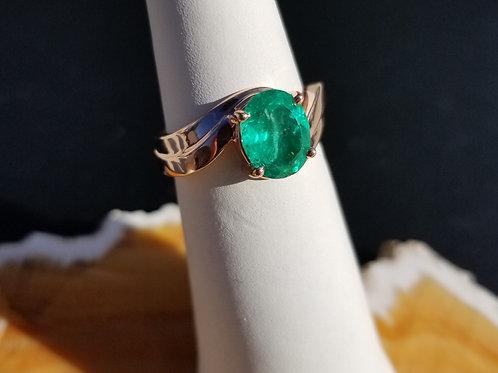 Natural Emerald in 14K Rose Gold