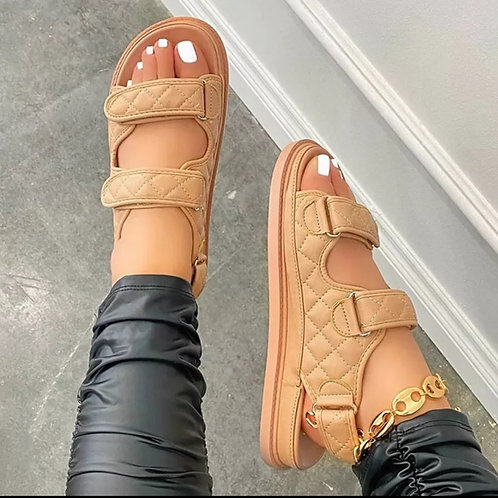 Nude Double Strap Sandals