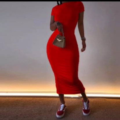Women's Casual Short Sleeved Maxi Dress