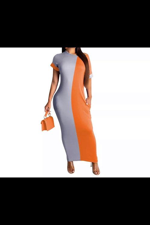 Color block maxi dress with pockets