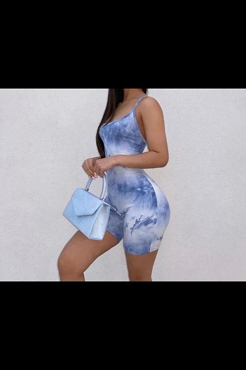 Blue Tye Dye Romper Backless Short Set