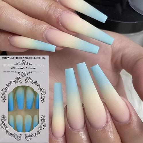 Blue Ombre Matte Long Press On Nails (24 pcs)