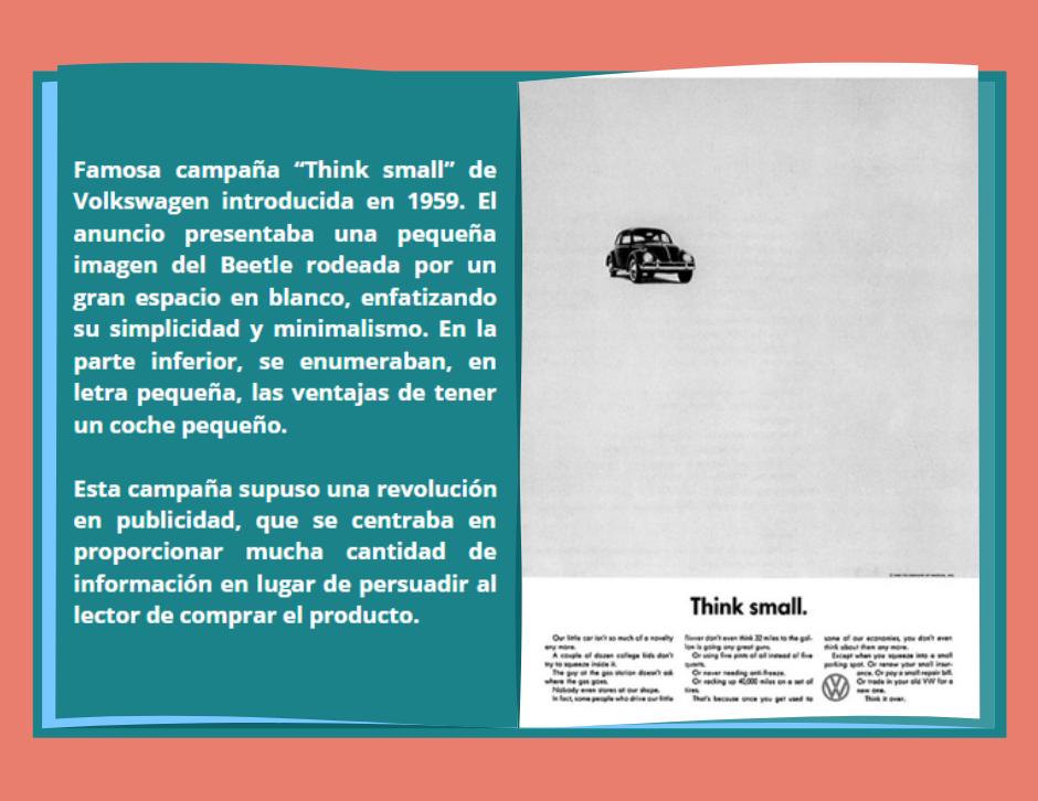 Campaña Think Small de Volkswagen que supuso una auténtica revolución en el marketing
