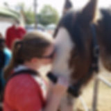 Portrait of Kate kissing a horse