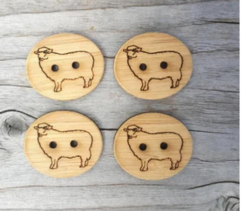 Sheep buttons - Set of four