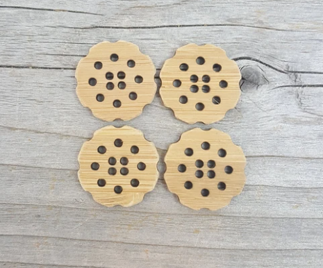 Stitchable flower buttons - Set of four