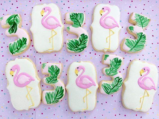 Third birthday cookies! Palms and flamingo pool party 🌴💦🎉 #bullfishcookiecompany #charlestonbaker