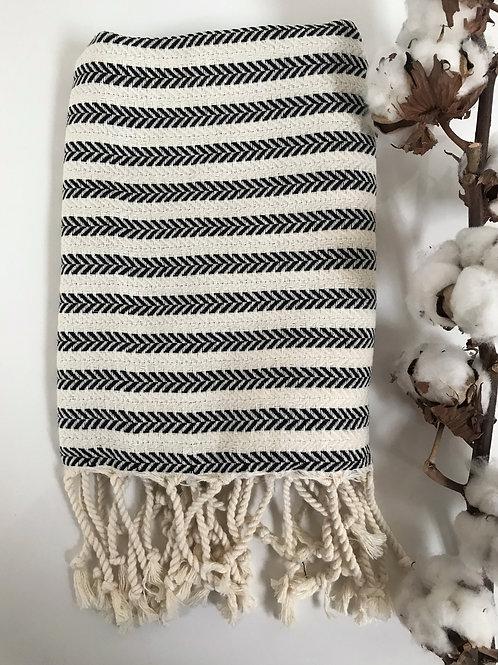 Black Herringbone Tea Towel