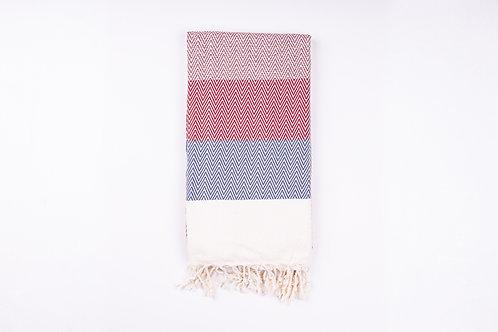 Alinda Burgundy Herringbone Peshtemal Throw - Small Cotton Blanket