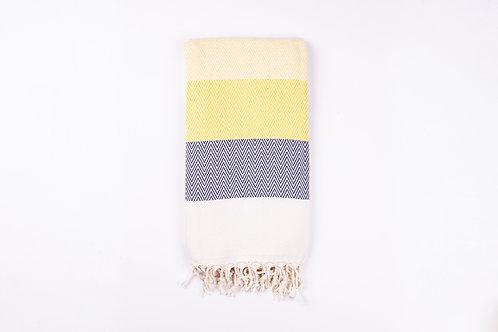 Alinda Yellow Herringbone Peshtemal Throw - Small Blanket
